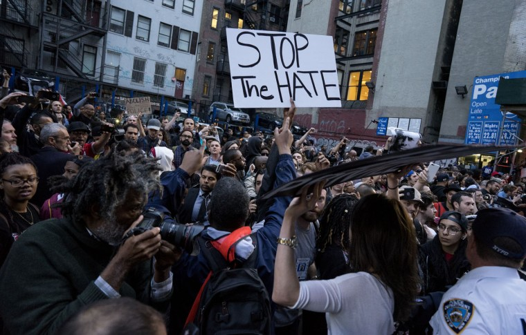 People protest near Union Square, Wednesday, April 29, 2015, in New York. People gathered to protest the death of Freddie Gray, a Baltimore man who was critically injured in police custody. (AP Photo/Craig Ruttle)