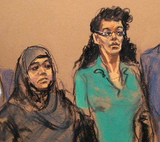"In this April 2, 2015 courtroom sketch, defendants Noelle Velentzas, left and Asia Siddiqui, appear at federal court in New York on charges they plotted to wage violent jihad by building a homemade bomb and using it for a Boston Marathon-type terror attack. According to prosecutors, the pair werenít interested in taking on the subservient role of going overseas to marry the militant group fighters, but sought to ""make history"" on their own by building a bomb and attacking a domestic target. (AP Photo/Jane Rosenberg, File)"