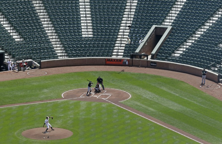 Baltimore Orioles starting pitcher Ubaldo Jimenez throws to Chicago White Sox's Adam Eaton in the first inning of a baseball game, Wednesday, April 29, 2015, in Baltimore. The game was played in an empty Oriole Park at Camden Yards amid unrest in Baltimore over the death of Freddie Gray at the hands of police. (AP Photo/Patrick Semansky)