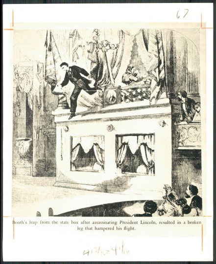 Illustrating Booth's leap from the box that resulted in his broken leg.