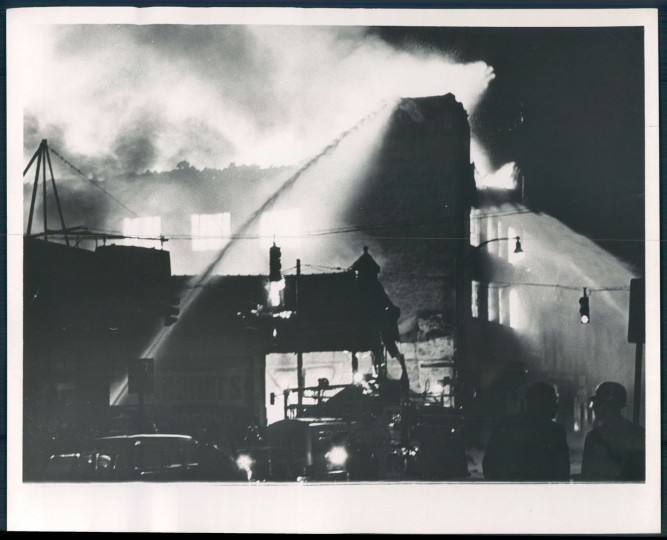 A fire burns at Harford and Federal. Walter M. McCardell