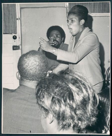 A press conference. William L. LaForce, Sun