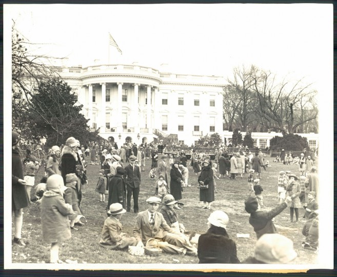 Washington kiddies have a big time at the Easter egg roll on the White House lawn. The annual custom of throwing open the White House grounds for the annual Easter Monday frolic is continued by President Coolidge. (AP wirephoto, 1928)
