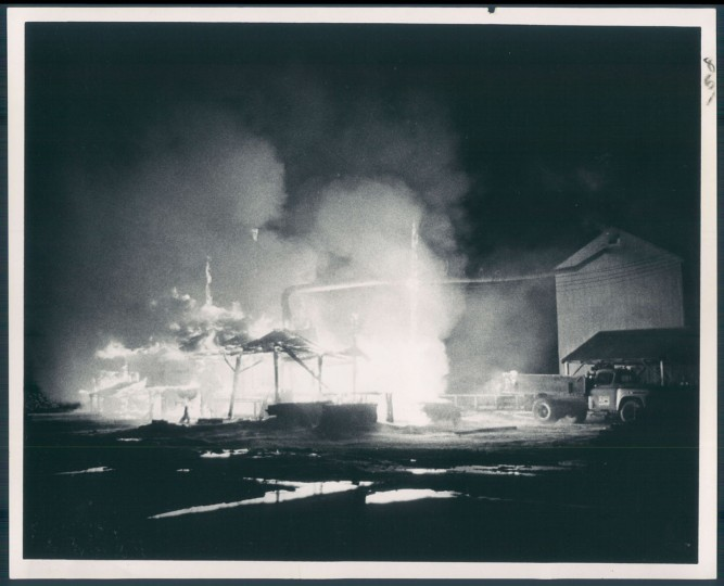 May 20, 1968 - SAWMILL DESTROYED -- Fire set by arsonis is destroyed G. T. Phipps lumber bill last night. Phoot by Richard W. Childress.