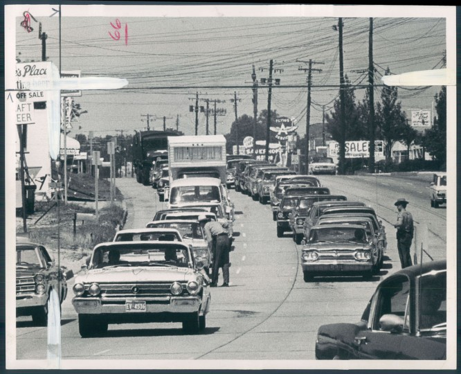 May 20, 1968 - EVERYBODY STOPS -- State Police are shown stopping all cars yesterday on the roads leading to Salisbury, Md. Photo by Richard W. Childress.