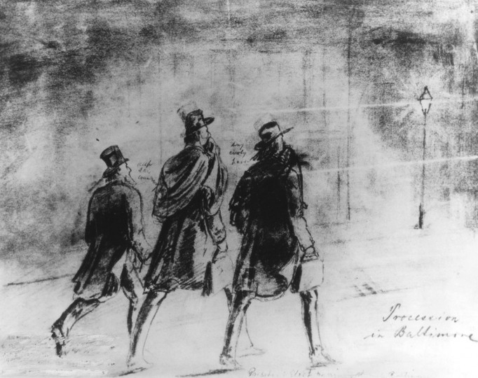 """Mr. Lincoln and the Baltimore Barber. """"Procession in Baltimore"""" is the title of this drawing from an 1861 issue of Frank Leslie's Illustrated Weekly. It purportedly shows Allan Pinkerton (left), Abraham Lincoln, and Ward H. Lamon walking in Baltimore during their night trip through the city. The artist had a lively imagination; the three men never left their sleeping car. Photo source: Pinkerton National Detective Agency/file photo"""