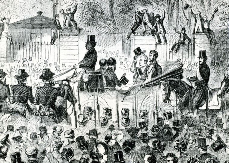 """WASHINGTON, D.C. -- March 4, 1861 -- Abraham Lincoln Inauguration. """"Lincoln's first Inaugural Procession"""" from a woodcut in Harpers Weekly for March 16, 1861. Illustration from Harpers Weekly of March 8, 1913. Photo by unknown/file photo"""