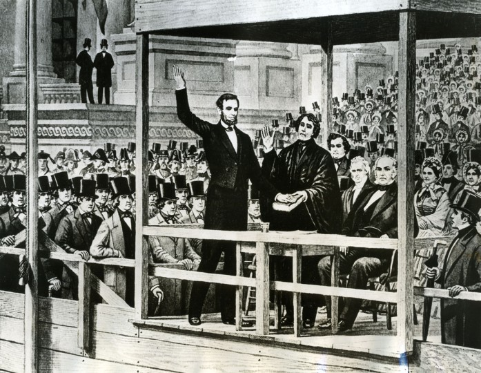 WASHINGTON, D.C. -- March 4, 1861 -- Abraham Lincoln Inauguration. Lincoln takes Oath of Office. Abraham Lincoln taking the Oath of Office for the first time in 1861, as shown from an old print. Photo by unknown/AP file photo