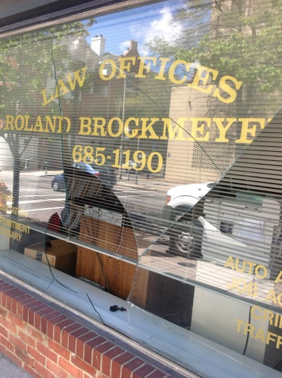 The Law Offices - Roland Brockmeter on Centre Street was damaged by rioting last night. (Jeffrey Barker/Baltimore Sun)
