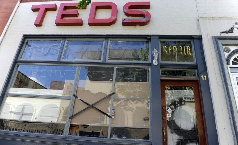 Ted's Music on Centre Street is one of the businesses that were damaged in recent riots. (Barbara Haddock Taylor/Baltimore Sun)