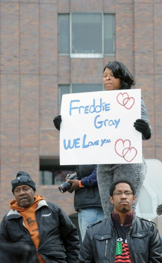 Demonstrators gather at City Hall to protest the death of Freddie Gray in police custody. (Algerina Perna/Baltimore Sun)