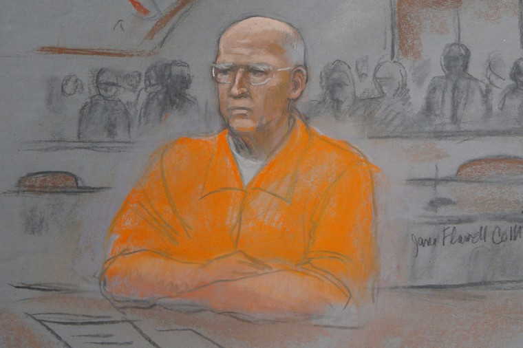 "A courtroom artist's sketch shows convicted mobster James ""Whitey"" Bulger in federal court during the first of two days of his sentencing hearing in Boston, Massachusetts November 13, 2013. Federal prosecutors called convicted mobster James ""Whitey"" Bulger a ""sociopath"" who reigned brutally over Boston in the 1970s and '80s, and asked a judge on Wednesday to send the aging former crime boss to prison for the rest of his life. REUTERS/Jane Collins"