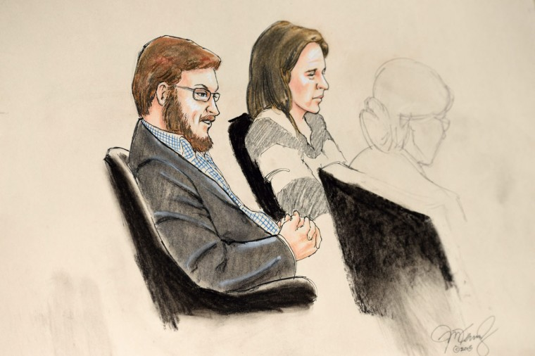 A courtroom sketch showing accused murderer James Holmes (L) sitting with Arapahoe County Public Defender Tamara Brady (C) at the Arapahoe District Courthouse in Centennial, Colorado, USA, 20 January 2015. Holmes is on trial for murder, attempted murder and other offenses in connection with the 20 July 2012 shooting at the Aurora Century 16 movie theater, which left 12 people dead and 58 wounded.