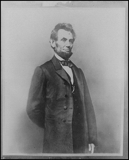 Mathew Brady photograph of Abraham Lincoln, from the Library of Congress.