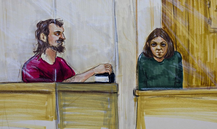 Bomb plot suspects John Nuttall (L) and Amanda Korody are shown in a courtroom sketch, during their appearance in provincial court in Surrey, British Columbia July 9, 2013. Nuttall and Korody are charged with attempting to set off three home-made pressure cooker bombs in a crowd celebrating the July 1 Canada Day holiday in Victoria, the capital of the Pacific province of British Columbia. REUTERS/Felicity Don