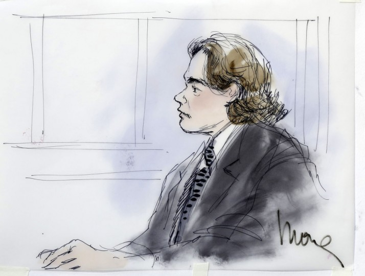 A courtroom sketch depicting the testimony of Prince Michael Jackson, son of late pop star Michael Jackson, during Katherine Jackson's negligence suit against AEG Live, is pictured at Los Angeles Superior Court in Los Angeles, California June 26, 2013. REUTERS/Mona Edwards