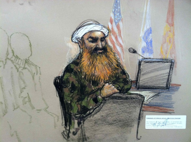 The alleged mastermind of the hijacked plane attacks on the United States, Khalid Sheikh Mohammad, is seen during a break in court procedure in this Pentagon-approved sketch at Guantanamo Bay U.S. Naval Base, Cuba June 17, 2013. Dozens of issues are on the docket for a week-long pretrial hearing in the death penalty case against the alleged mastermind of the hijacked plane attacks on the United States, Khalid Sheikh Mohammed, and four co-defendants accused of funding and training the hijackers. REUTERS/ Janet Hamlin