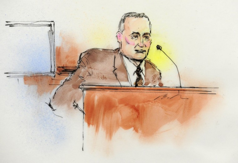 Aurora Police Detective Matthew Ingui is pictured in a courtroom sketch testifying in Centennial, Colorado January 7, 2013 at a court appearance of James Holmes, the accused shooter in the July 20, 2012 theater shootings. Attorneys are meeting Monday for a preliminary hearing at which prosecutors will lay out their evidence so that Arapahoe County District Judge William Sylvester may decide if there is a basis for trying Holmes. REUTERS/Bill Robles