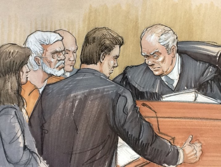 A courtroom artist's sketch shows (L to R) Tahawwur Rana in a white beard, looking on with his lawyer Patrick Blegen, prosecutor Daniel Collins and Judge Harry Leinenweber during a sentencing hearing in federal court in Chicago, Illinois January 17, 2013. Rana, a Canadian national found guilty in 2011 of participating in a terror conspiracy against a Danish newspaper and providing material to support a terrorist organization. REUTERS/Tom Gianni