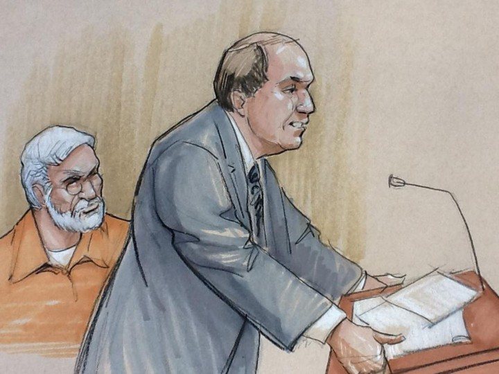 A courtroom artist's sketch shows Tahawwur Rana (L) looking on with his lawyer Patrick Blegen during a sentencing hearing in federal court in Chicago, Illinois January 17, 2013. Rana, a Canadian national found guilty in 2011 of participating in a terror conspiracy against a Danish newspaper and providing material to support a terrorist organization. REUTERS/Tom Gianni