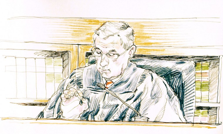 U.S. District Court Judge George A. O'Toole on April 6 in Boston gives jurors instructions to follow in their deliberations in the trial of Dzhokhar Tsarnaev, who is charged in the 2013 bombings in Boston. Adam Goldman/The Washington Post
