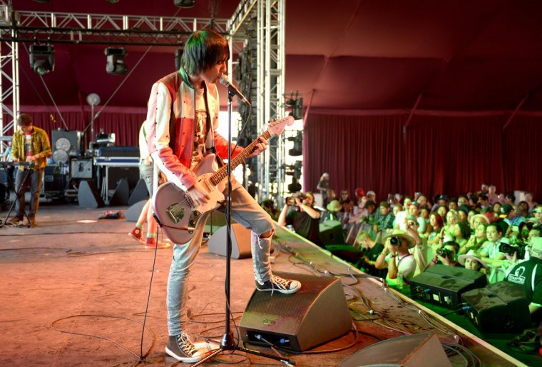 Musician Ryan Jarman of The Cribs performs onstage during day 3 of the 2015 Coachella Valley Music & Arts Festival (Weekend 1) at the Empire Polo Club on April 12, 2015 in Indio, California. (Photo by Matt Cowan/Getty Images for Coachella)