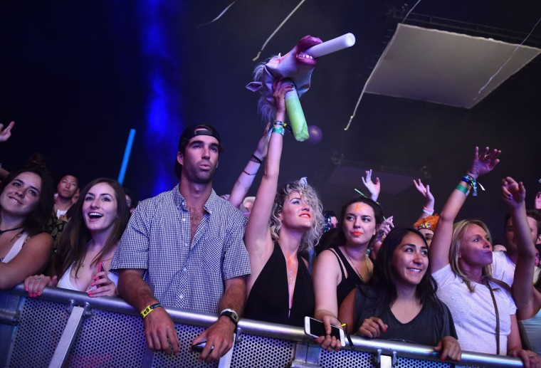 Music fans attend day 3 of the 2015 Coachella Valley Music & Arts Festival (Weekend 1) at the Empire Polo Club on April 12, 2015 in Indio, California. (Photo by Jason Kempin/Getty Images for Coachella)