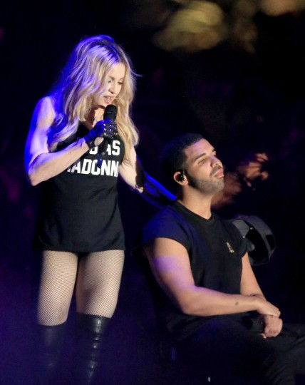 Recording artists Drake and Madonna perform onstage during day 3 of the 2015 Coachella Valley Music & Arts Festival (Weekend 1) at the Empire Polo Club on April 12, 2015 in Indio, California. (Photo by Christopher Polk/Getty Images for Coachella)
