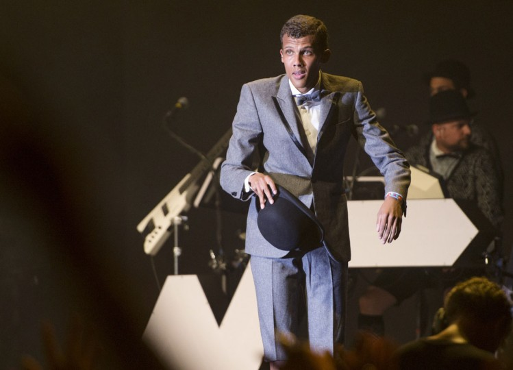 Belgian singer Stromae performs on day three of the Coachella Music Festival in Indio, California, on April 12, 2015. (ROBYN BECK/AFP/Getty Images)