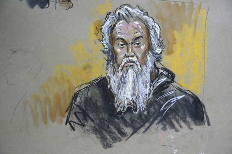 A courtroom sketch depicts Ahmed Abu Khatallah in U.S. federal court in Washington June 28, 2014. Khatallah, a Libyan militia leader, pleaded not guilty in federal court on Saturday to a federal terrorism charge in the 2012 attack on the U.S. diplomatic compound in Benghazi that killed four Americans. Khatallah arrived at the U.S. District Court in Washington on Saturday morning and was charged with providing material support to terrorism at a hearing in U.S. District Court. REUTERS/Bill Hennessy