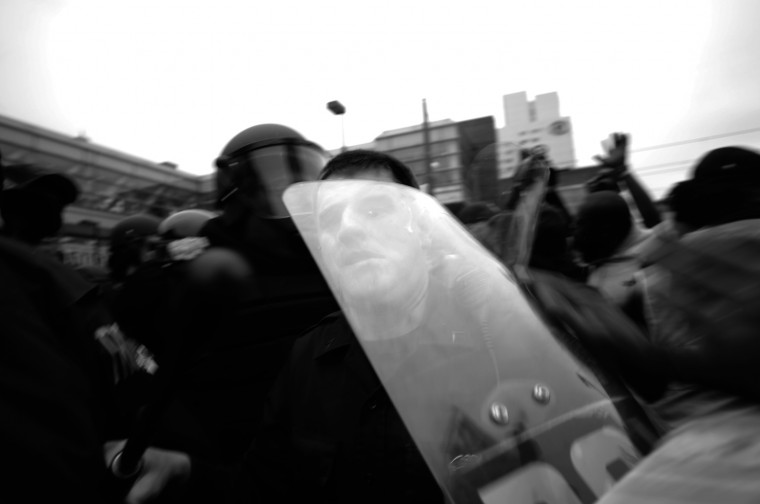April 25: Fights break out between police and protesters near Camden Yards. A police officer loses his helmet as a brick flies overhead. BCPD tweet: We are doing our best to facilitate everyone's 1st amendment rights to be heard. Protesters are now breaking windows and throwing items at us. See more photos from the day here.