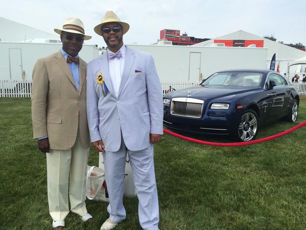 Felix Bingham of Rolls Royce (on left) says if you win $370 ,000 at track today, you can drive this home. (Jean Marbella/Baltimore Sun)