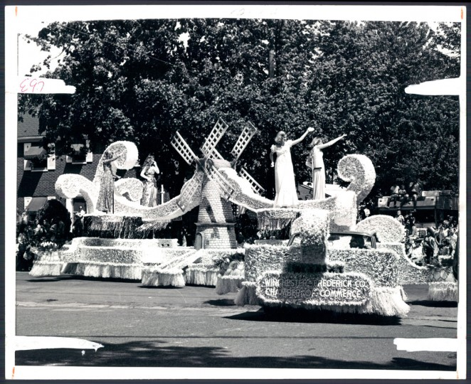 "Among the highlights of the first Preakness Parade will be the professionally built floats. Constructed by Devere-Woodcock Co., ""Holland"" has been leased by a local business for the gala. (Baltimore Sun, 1972)"