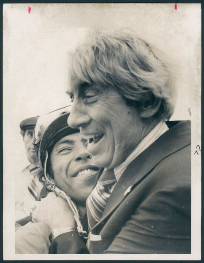 Jockey Angel Cordero and Tartan Stable president-general manager John Nerud hug ecstaticaly after Codex's victory in the Preakness. (Joseph A. DiPaola/Baltimore Sun, 1980)