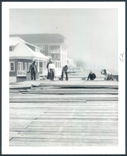 Rebuilding the boardwalk in 1962 after it was damaged.