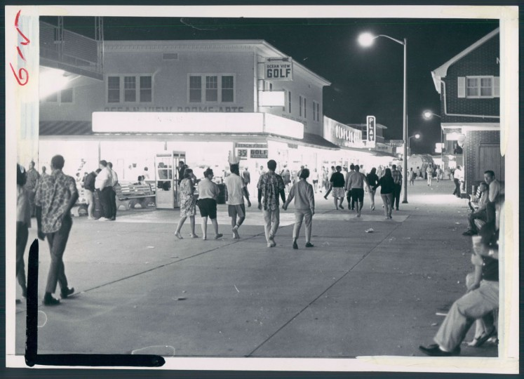 Midnight strollers along the boardwalk in July, 1967.