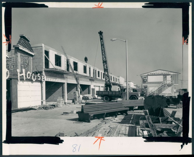 April 2, 1967: Widespread rebuilding is under way in the amusement area of the boardwalk near the inlet. Restaurant on right is new. The frame buildings in this popular Ocean City area are being replaced by block structures this year. Photo by A. Aubrey Bodine