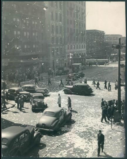 Baltimore Street from Light Street. People celebrate V-E Day. (Baltimore Sun archives)