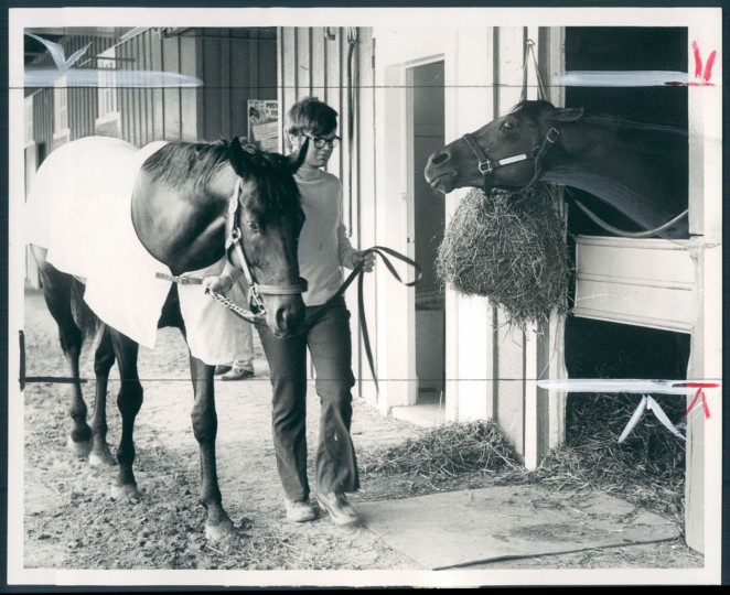 I'LL GET YOU THIS TIME - Run Dusty Run (right) means business in the Preakness and glowers at Seattle Slew. (Baltimore Sun, 1977)
