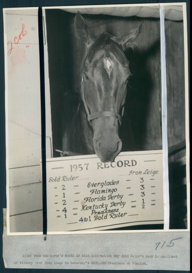 Bold Ruler at Preakness. (Baltimore Sun, 1957)