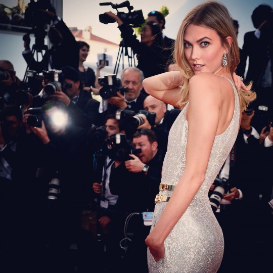 Karlie Kloss poses on the red carpet during the 68th annual Cannes Film Festival on May 13, 2015 in Cannes, France. (Photo by Pascal Le Segretain/French Select)