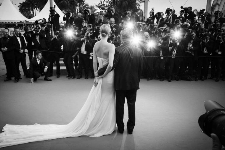 "An alternative view of Actors Sean Penn and Charlize Theron attending the premiere of ""Mad Max: Fury Road"" during the 68th annual Cannes Film Festival on May 14, 2015 in Cannes, France. (Photo by Clemens Bilan/French Select)"