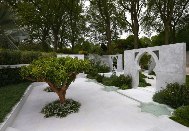 'The Beauty of Islam' show garden designed by Kamelia Bin Zaal and sponsored by The Outdoor Room is pictured on the press preview day of the Chelsea Flower Show on May 18, 2015 in London, England. The show, which has run annually since 1913 in the grounds of the Royal Hospital Chelsea, is open to the public from 19th to 23rd May and is expected to draw around 157,000 visitors. (Photo by Carl Court/Getty Images)