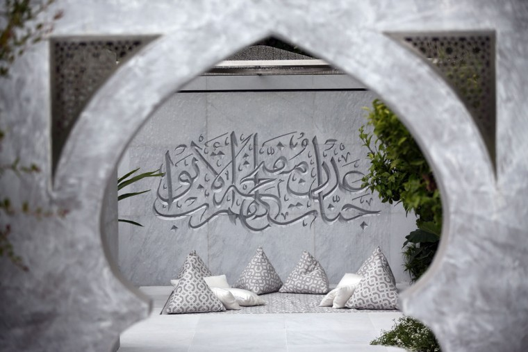 The Beauty of Islam show garden designed by Kamelia Bin Zaal and sponsored by The Outdoor Room is pictured on the press preview day of the Chelsea Flower Show on May 18, 2015 in London, England. The show, which has run annually since 1913 in the grounds of the Royal Hospital Chelsea, is open to the public from 19th to 23rd May and is expected to draw around 157,000 visitors. (Photo by Carl Court/Getty Images)