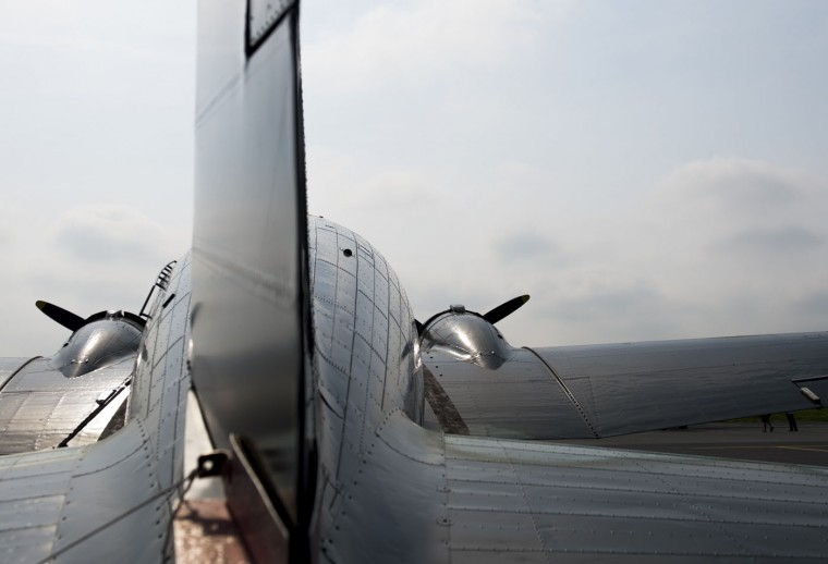 A Douglas C-47 Skytrain airplane sits on the tarmac prior to a practice flight with dozens of World War II era aircraft near Culpeper Regional Airport in Brandy Station, Virginia, May 7, 2015. Dozens of World War II era planes will fly past the National Mall in Washington, DC, on May 8, during the Arsenal of Democracy World War II Victory Capitol Flyover to commemorate the 70th anniversary of Victory in Europe (VE) Day. (Saul Loeb/AFP/Getty Images)