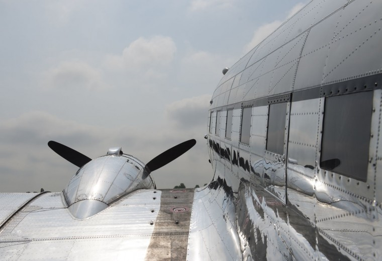 A Douglas C-47 Skytrain airplane sits prior to a practice flight with dozens of World War II era aircraft near Culpeper Regional Airport in Brandy Station, Virginia, May 7, 2015. Dozens of World War II era planes will fly past the National Mall in Washington, DC, on May 8, during the Arsenal of Democracy World War II Victory Capitol Flyover to commemorate the 70th anniversary of Victory in Europe (VE) Day. (Saul Loeb/AFP/Getty Images)