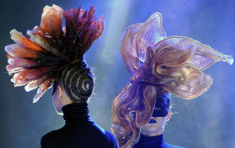 Models present creations by Belarusian studio Iteyra during the international festival A Mill of Fashion in Minsk, on May 14, 2015. (SERGEI GAPON/AFP/Getty Images)