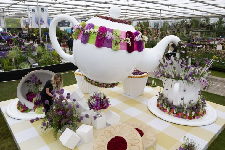 "A horticulturist makes adjustments to ""Time for Tea"" on display in the Great Pavilion at the 2015 Chelsea Flower Show in London on May 18, 2015. The Chelsea flower show, held annually in the grounds of the Royal Hospital Chelsea, will run this year from May 19-23. (AFP Photo/Justin Tallis)"