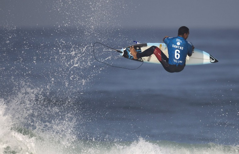 Brazil's Wiggolly Dantas competes in the 2015 Oi Rio Pro World Surf League competition at Barra da Tijuca beach in Rio de Janeiro, Brazil, Tuesday, May 12, 2015. (AP Photo/Leo Correa)