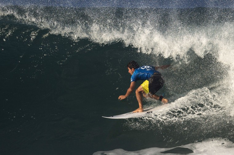 Jeremy Flores of France competes in the 2015 Oi Rio Pro World Surf League competition at Barra da Tijuca beach in Rio de Janeiro, Brazil, Tuesday, May 12, 2015. (AP Photo/Leo Correa)